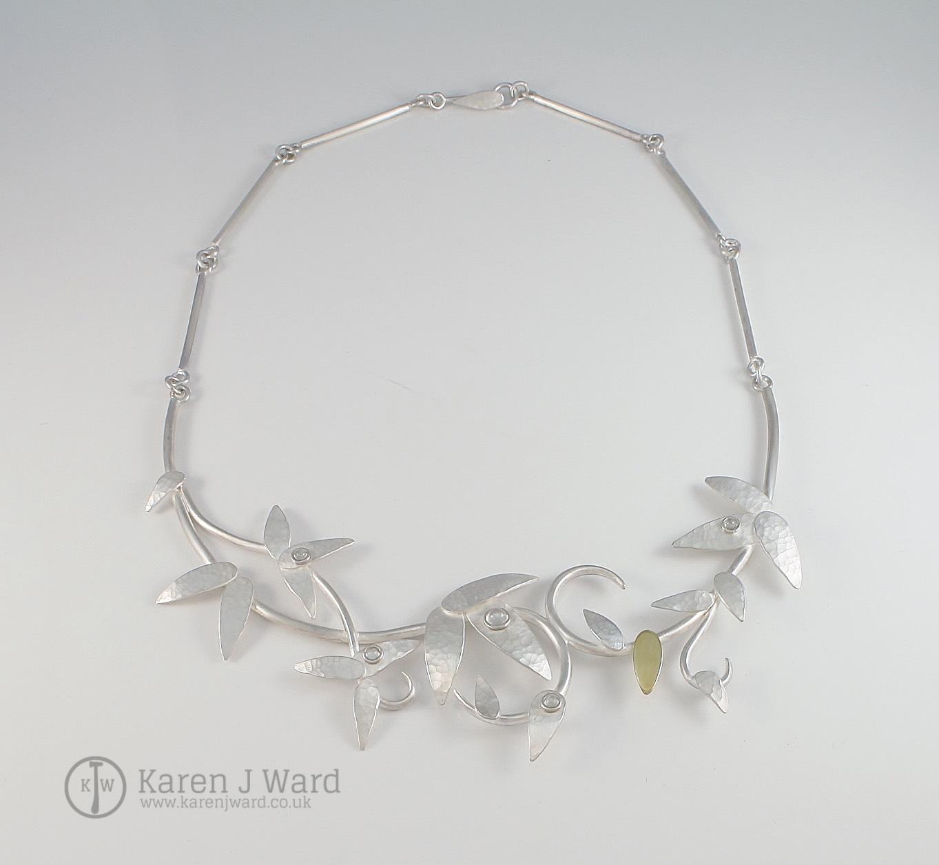 Sterling silver and 18k gold Rain moonstone neckpiece