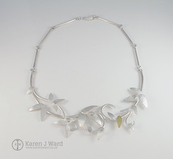 Sterling silver and 18k gold Rain moonstone neckpiece