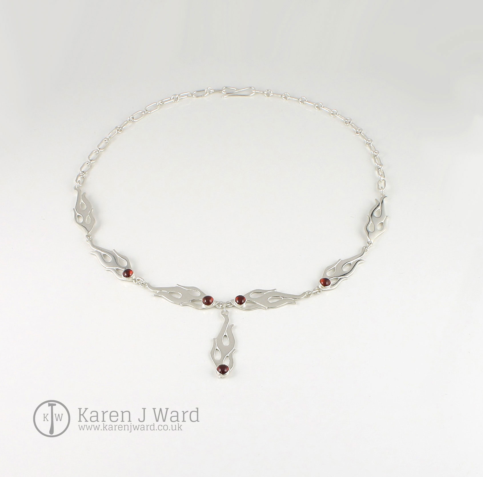 Custom Flame sterling silver and garnet necklace