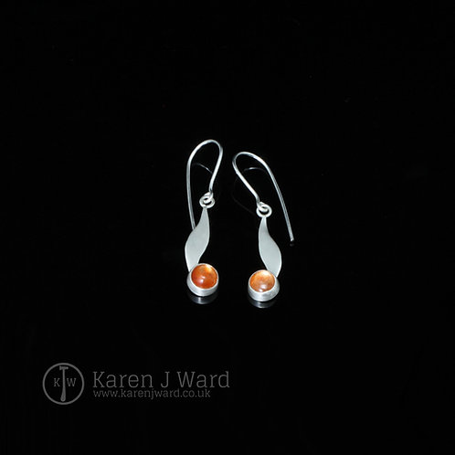 Sterling silver and sunstone earrings