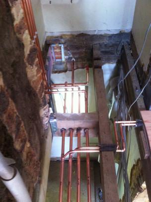 First fix copper pipework