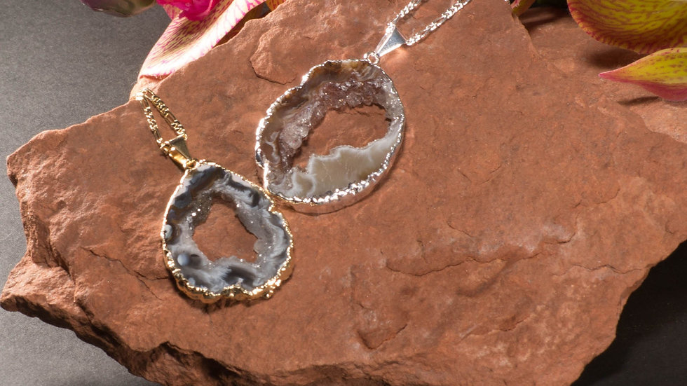 Agate Geode Chain Necklace