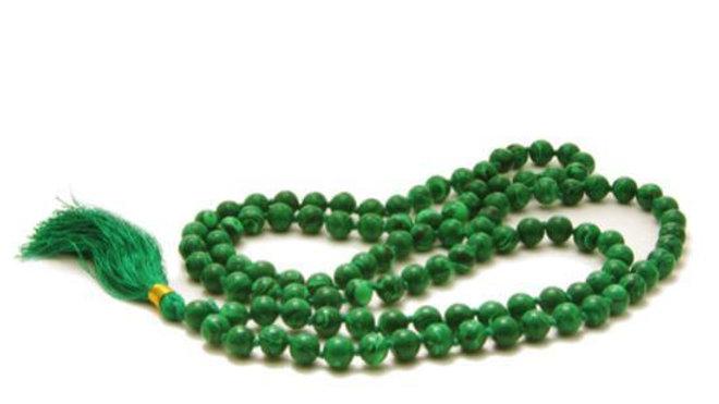 Malachite Mala Beads Necklace