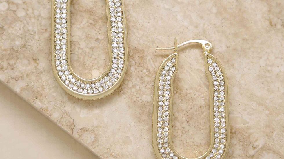 Crystal Spotlight 18k Gold Plated Hoops