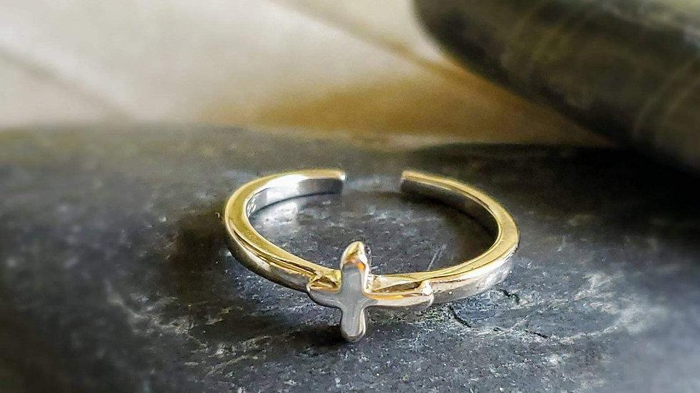 Spiritual Cross  Silver Toe Ring