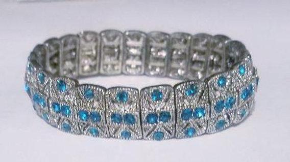 Austrian Teal Crystal & Marcasite Bracelet