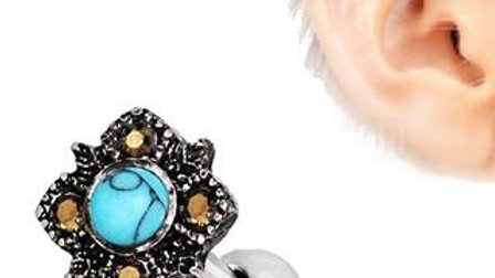 316L Stainless Steel Square Filigree Cartilage Earring with Turquoise