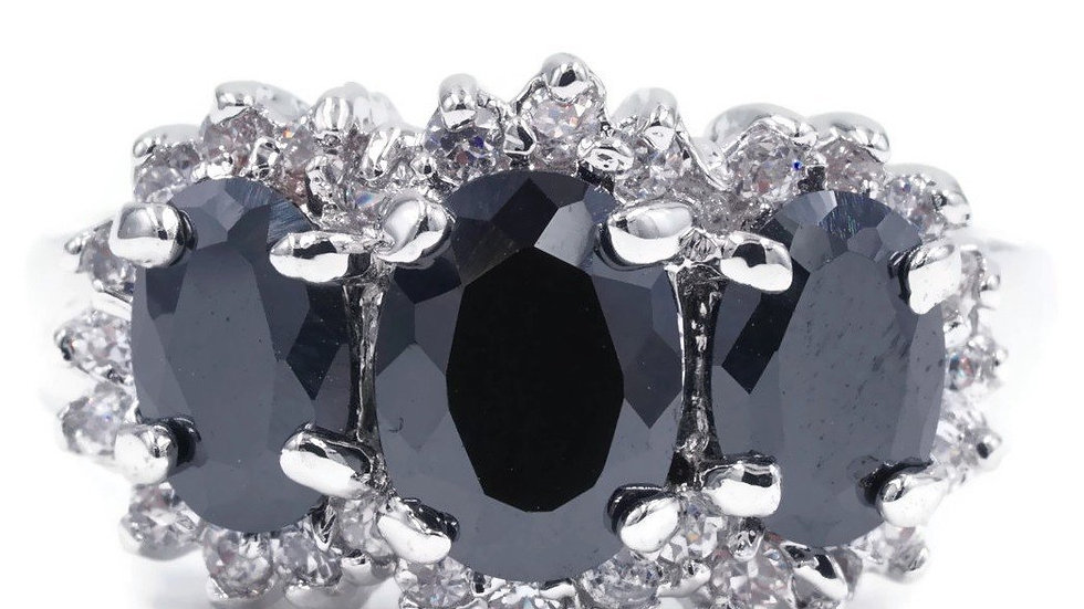 Unique Three Stone Oval Jet Black Stone Framed Ring