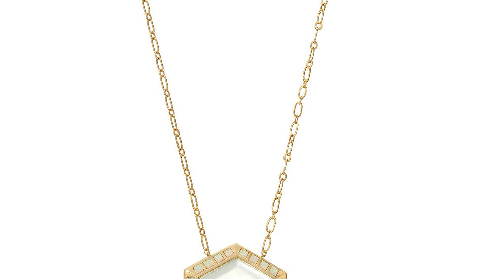 Isis Gold White Opal - Magnifier Pendant Necklace