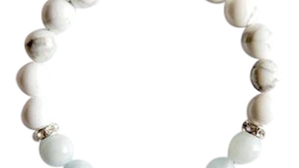 Aquamarine & White Howlite Sterling Silver Bracelet