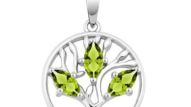 Motherly 2.00 CT Peridot Pear Cut Tree Of Life Necklace in 18K White