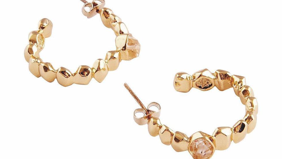 Golden Herkimer Diamond Quartz Hoop Earrings