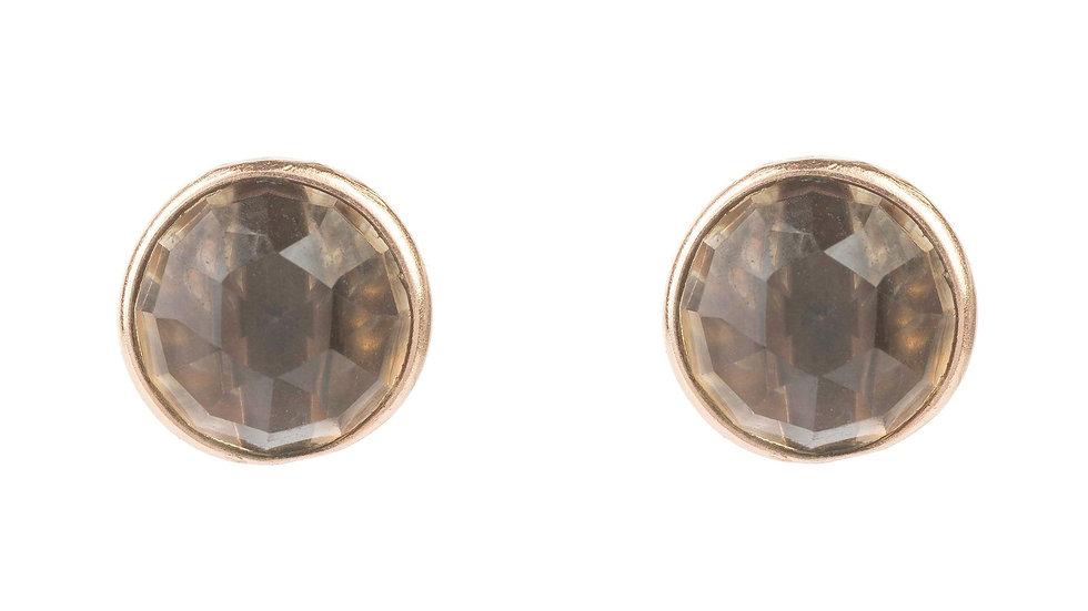 Medium Circle Stud Earrings Rosegold Smokey Quartz