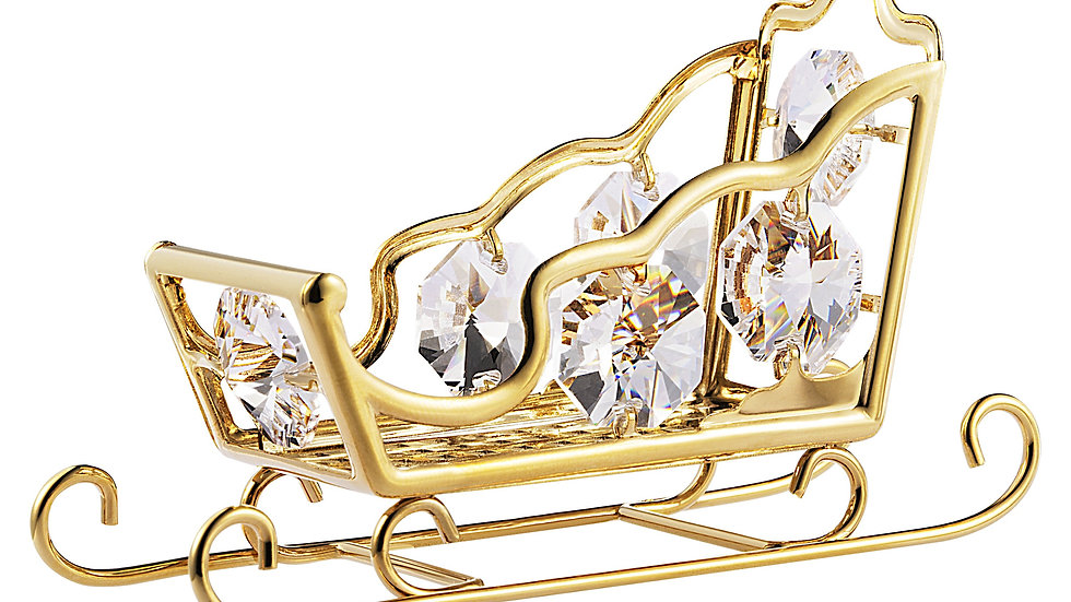 24K gold plated snow sleigh with Swarovski crystal