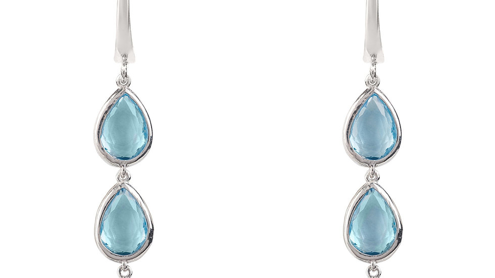Sorrento Triple Drop Earring Silver Blue Topaz