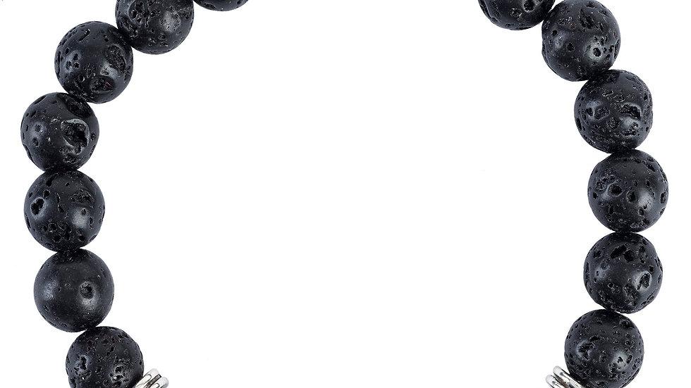 Skull Double Gemstone Bracelet Silver Black Lava Stone