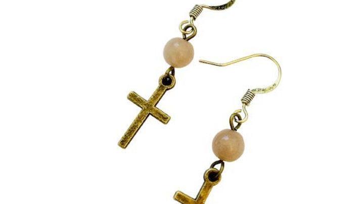 Bronze Cross Earrings