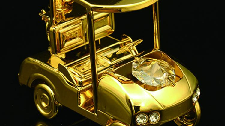 24K gold plated golf cart with Swarovski crystal element
