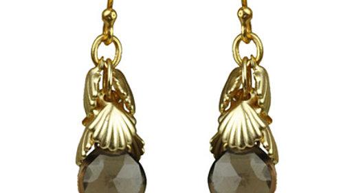 Shell Cluster Smoky Topaz Earrings