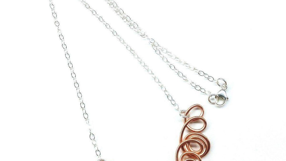 Copper Swirl Wire Sculpted Angels Necklace