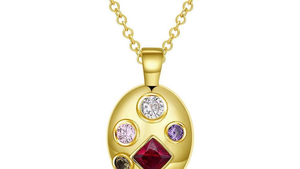Four Stone Swarovski Pendant Necklace in 14K Gold