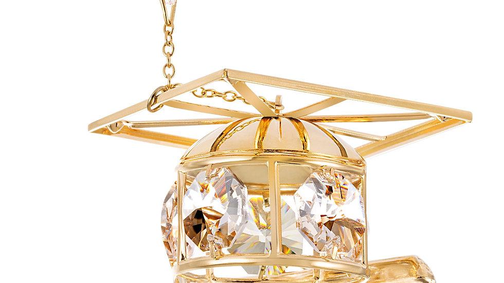 24K gold plated graduation cap with Swarovski crystal element