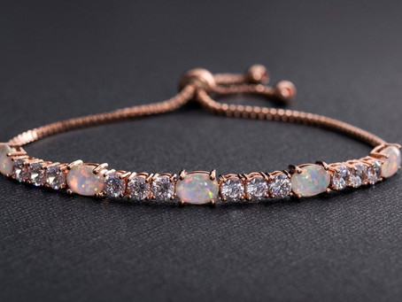 Fiery Opal Tennis Bracelet With Swarovski Crystals