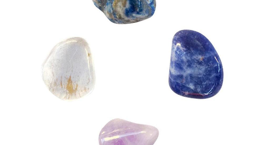 Third Eye Chakra * 4 Piece Stone Set * Lapiz Lazuli, Crystal Quartz,