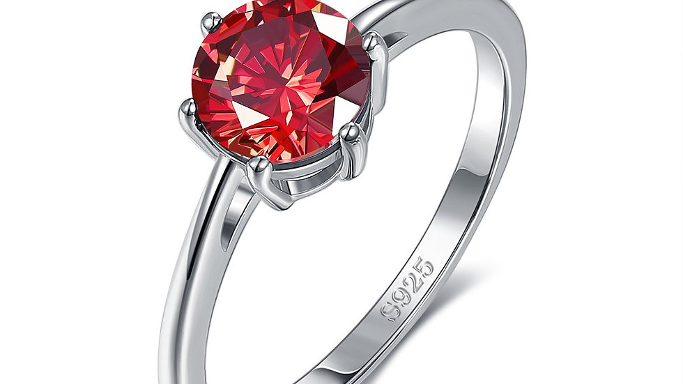 18K White Gold Plated Classic Round Cut Ruby Red