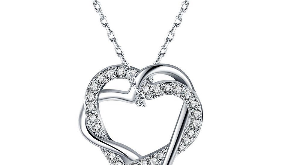 Duo Intertwined Heart Shaped Swarovski Elements Necklace in 18K White