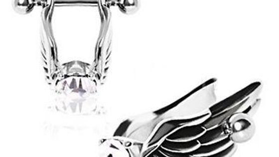 Angel Wings Cartilage Earring - Feathered Angel Wings W/ Gem Cartilage Piercing