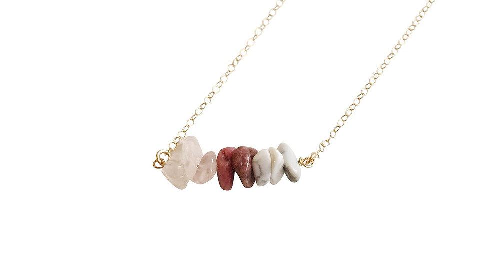Rose Quartz, Rhodonite and White Howlite Gemstone Necklace