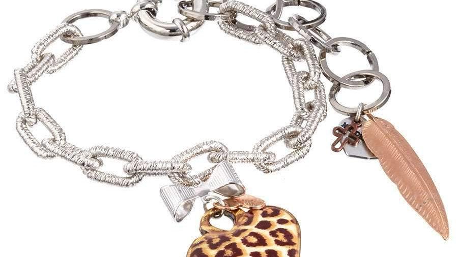 Leopard print heart-shaped charm bracelet