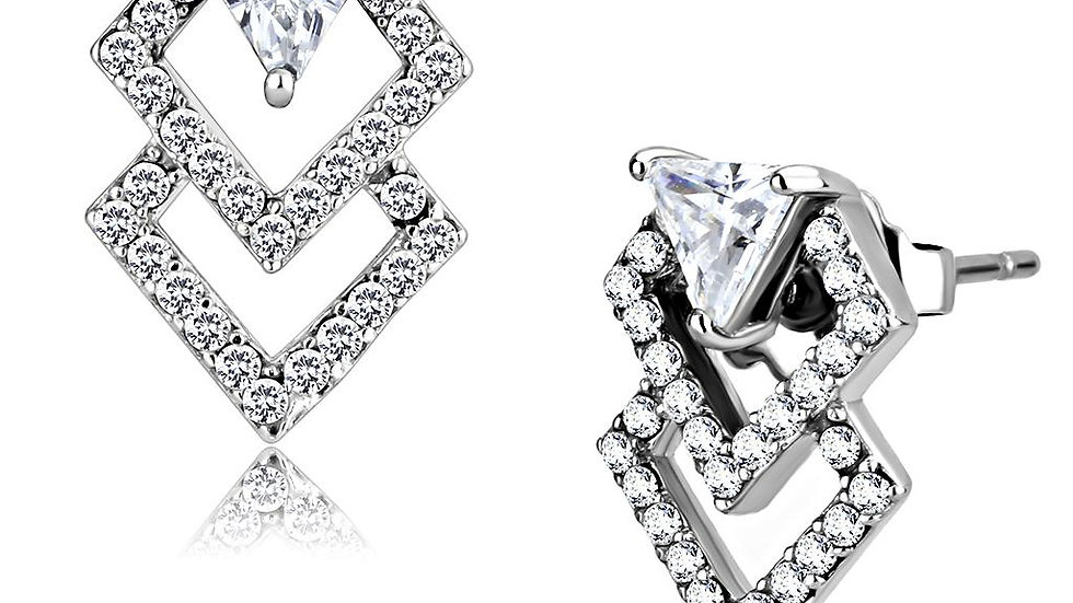 Women Stainless Steel Cubic Zirconia Earrings