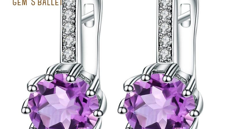 4.02Ct Round Natural Amethyst Earrings Fine Jewelry Soild 925 Sterling