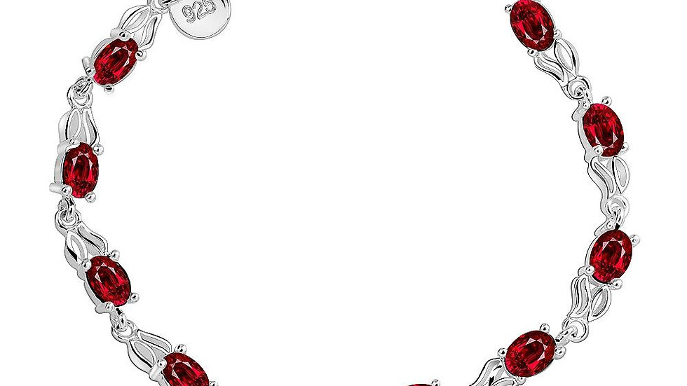 Ruby Levallois-Perret 18K White Gold Plated Bracelet Made with