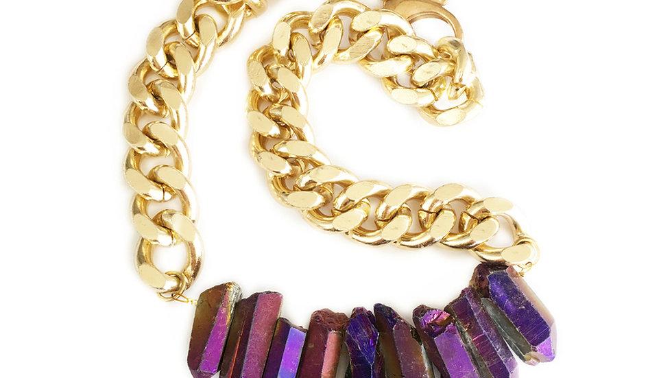 Rocked Up Crystal Quartz Necklace - Purple