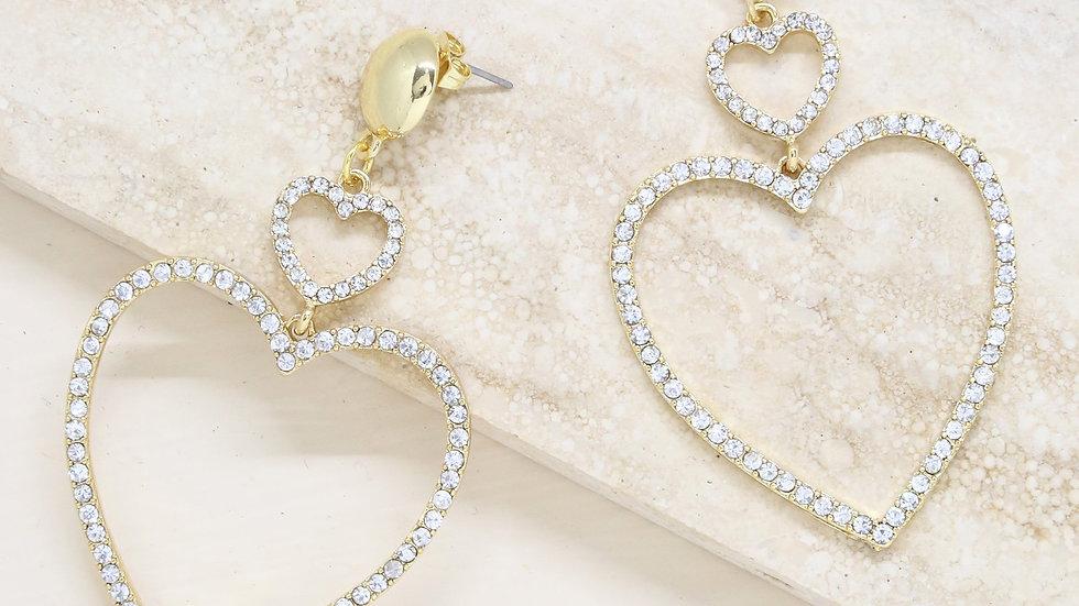 Double Heart Crystal Drop 18k Gold Plated Earrings
