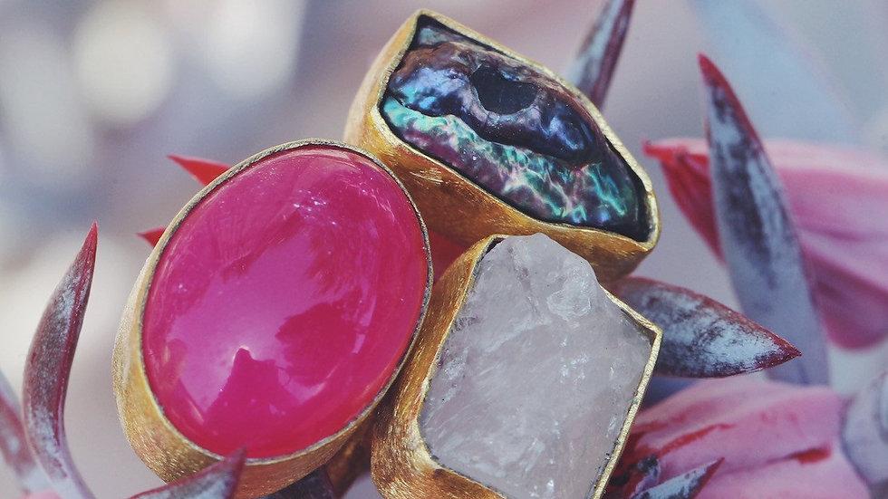 Tara Pearl + Rose Quartz + Pink Banded Onyx Ring