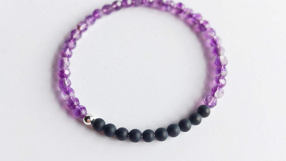 Amethyst and Black Onyx Bracelet