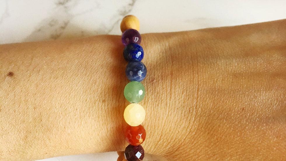 7 Chakras - 7 Different Gemstones & Sandalwood