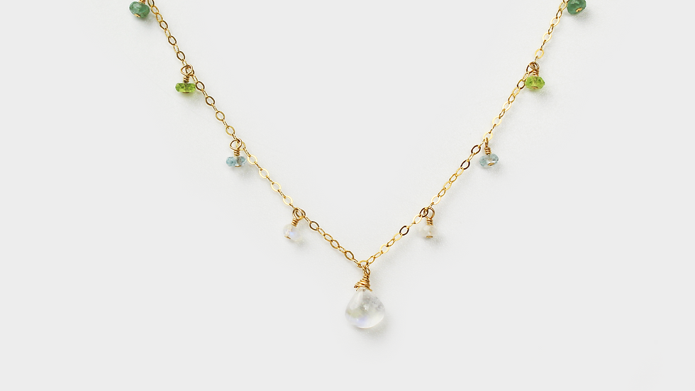 MiniDot Necklace: Shades of Green
