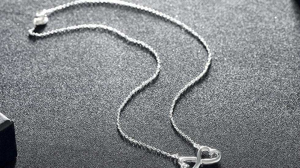 Infinity Heart Necklace in 18K White Gold Plated