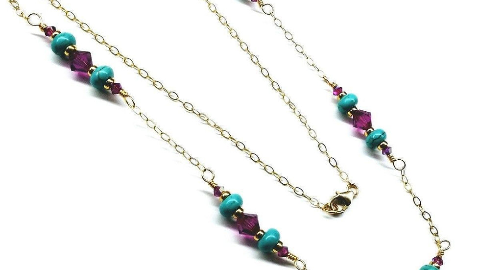 Gold Filled Pink Turquoise Gemstone Necklace