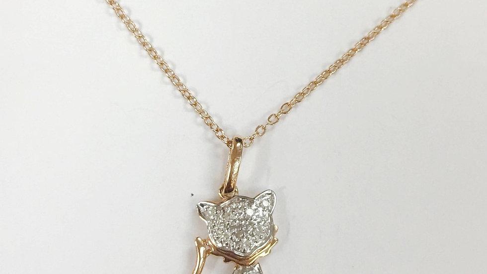 14k Gold/Rose Gold/White Gold Diamond Kitty Necklace