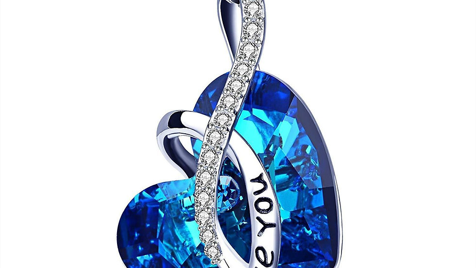 I LOVE YOU Blue Swarovski Crystal Heart Necklace in 18K White Gold