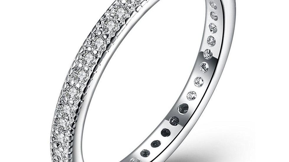 Classic Swarovski Crystal Wedding Band Ring Set in 18K White Gold