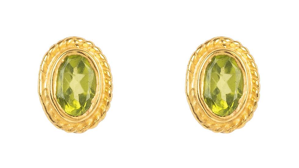 Birthstone Gold Gemstone Stud Earring  August Peridot