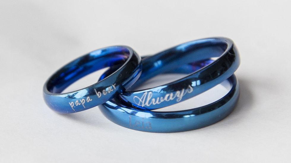 Blue Women or Men Ring Engraved Gift for Men Thin