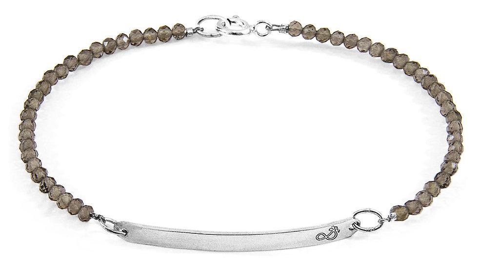 Grey Smokey Quartz Purity Silver & Stone Bracelet
